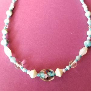 Vintage art glass beads necklace choker blue